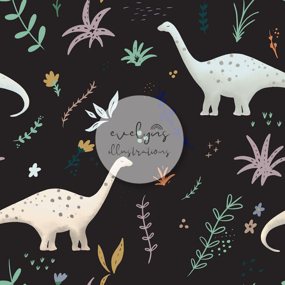 Repeat Illustrated Pattern Digital Download - Exclusive Colourway | Dinosaurs | Black | 6.5 by 6.5 Inches