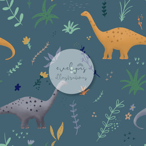 Repeat Illustrated Pattern Digital Download - Exclusive Colourway | Dinosaurs | Blue | 6.5 by 6.5 Inches