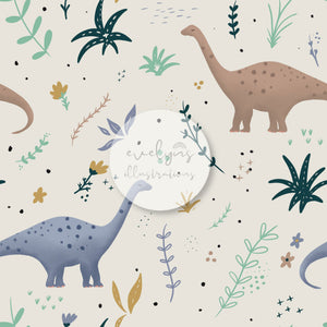 Repeat Illustrated Pattern Digital Download - Exclusive Colourway | Dinosaurs | Off Cream | 6.5 by 6.5 Inches