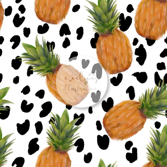 Digital Download - Non Exclusive | Medium Scale | Tropical Pineapple Leopard Print | 7 by 7 inches
