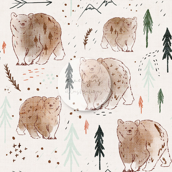 Repeat Illustrated Pattern Digital Download - Fully Exclusive | Summer Forest Bears | 7 by 7 Inches