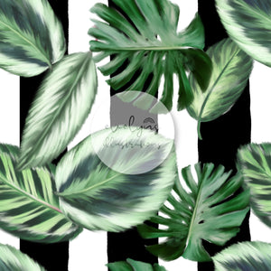 Digital Download - Non Exclusive | Medium Scale | Monstera Tropical Stripe | 7 by 7 inches