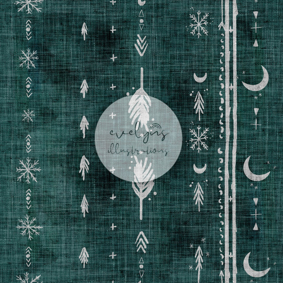 Digital Download -  Non exclusive | Rustic Boho Moons Forest Green |  9 by 9 inches
