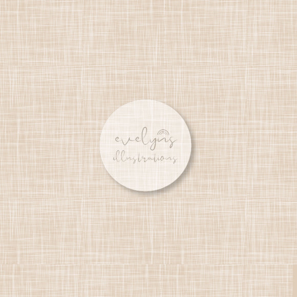 Repeat Illustrated Pattern Digital Download - Non Exclusive | Cream | Hessian Effect | Medium Scale | 8 by 8 inches