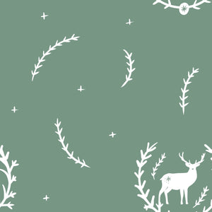 Digital Download - Non Exclusive | Medium Scale | Olive Green 2 PACK | Stag in Leaves | 6 by 6 Inches - Evelyns Illustrations