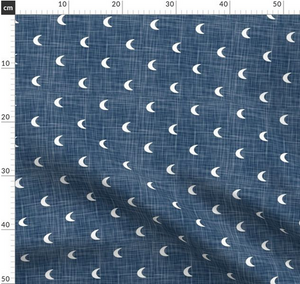 Repeat Illustrated Pattern Digital Download - Non Exclusive | Medium Scale | Denim Blue | Hessian Moons | 6 by 6 Inches - Evelyns Illustrations