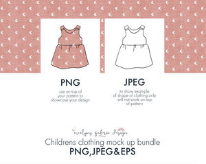 14 Items Bundle of EPS , PNG & JPEG images. Childrens and Baby clothing mock ups - Evelyns Illustrations