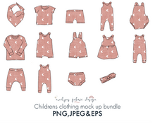 Load image into Gallery viewer, 14 Items Bundle of EPS , PNG & JPEG images. Childrens and Baby clothing mock ups - Evelyns Illustrations