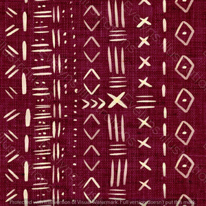 Non Exclusive | Medium Scale | Burgundy | Mudcloth | 6.5 by 6.5 Inches