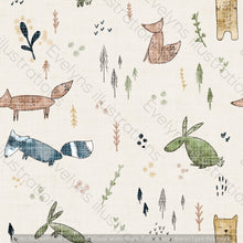 Load image into Gallery viewer, Non Exclusive | Medium Scale | Cream | Woodland Scandi Animals | 6.5 by 6.5 Inches