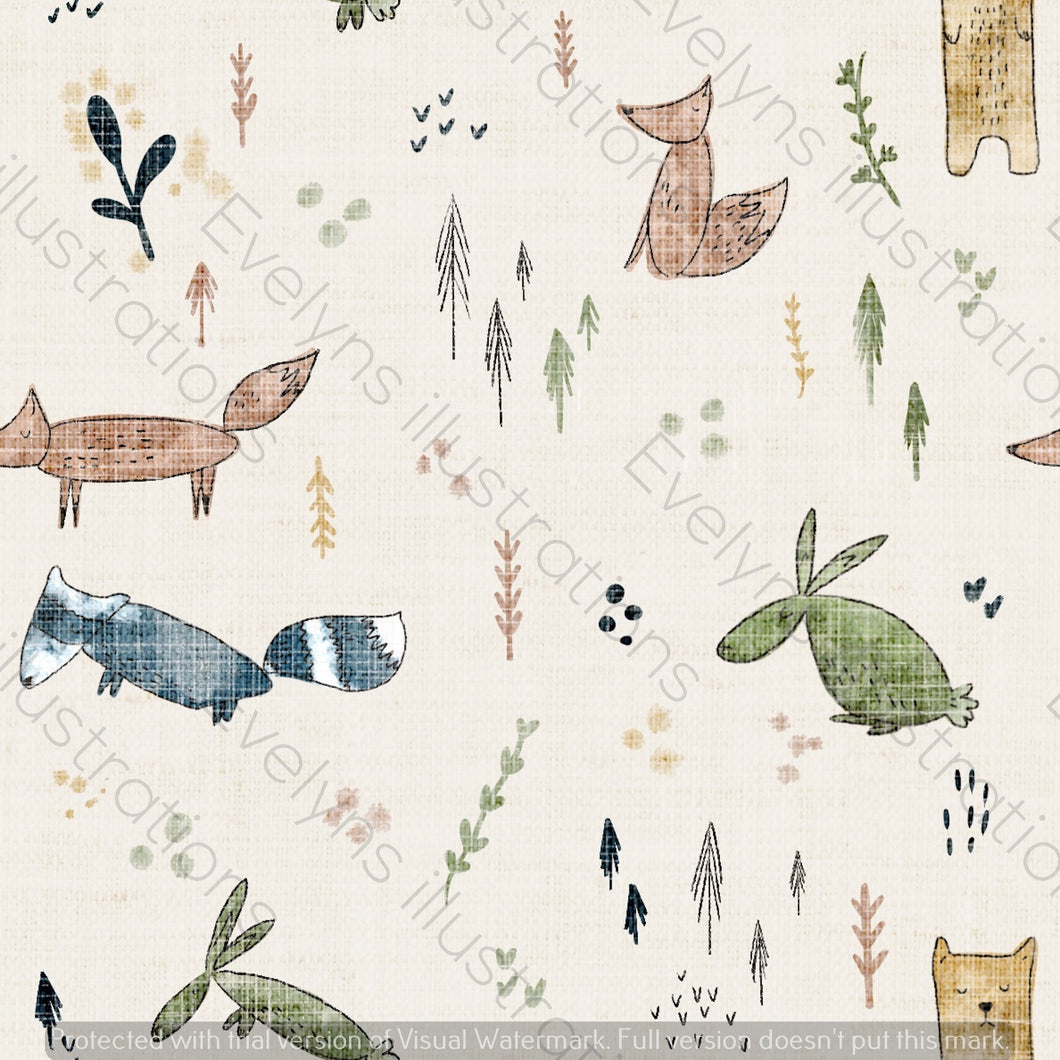 Non Exclusive | Medium Scale | Cream | Woodland Scandi Animals | 6.5 by 6.5 Inches
