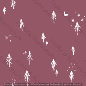 Digital Download - Non Exclusive | Medium Scale | Dusk 2 PACK | Little Forest Trees | 6 by 6 Inches - Evelyns Illustrations