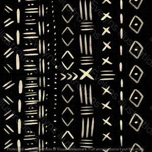 Non Exclusive | Medium Scale | Black | Mudcloth | 6.5 by 6.5 Inches