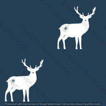 Load image into Gallery viewer, Digital Download - Non Exclusive | Medium Scale | Navy 2 PACK | Stags | 6 by 6 Inches - Evelyns Illustrations