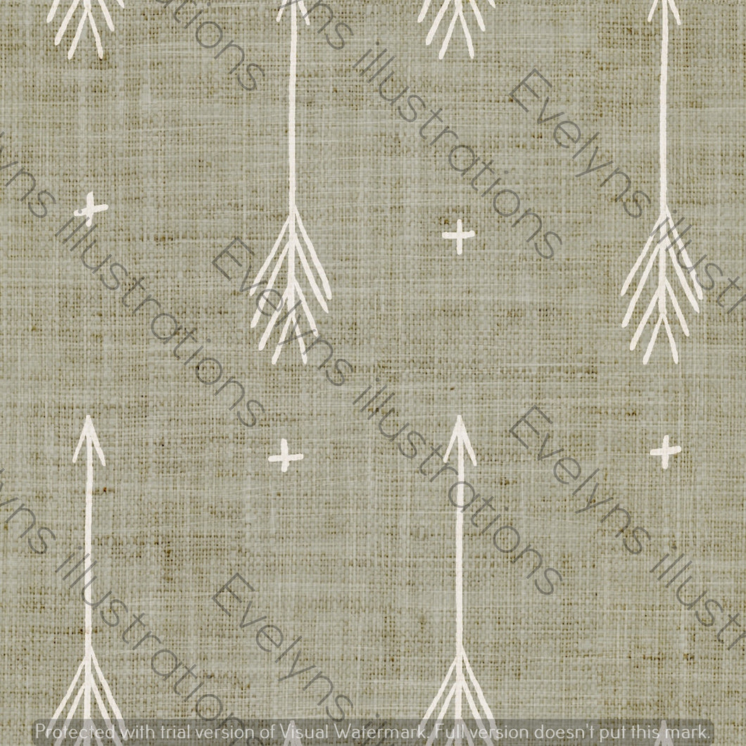 Repeat Illustrated Pattern Digital Download - Non Exclusive | Medium Scale | Sand | Sketch Arrows | 5.5 by 5.5 Inches - Evelyns Illustrations