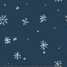 Load image into Gallery viewer, Digital Download - Non Exclusive | Medium Scale | Navy 2 PACK | Snowflakes | 6 by 6 Inches - Evelyns Illustrations