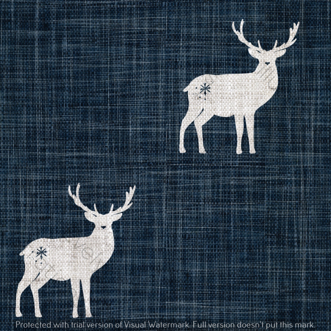 Digital Download - Non Exclusive | Medium Scale | Navy 2 PACK | Stags | 6 by 6 Inches - Evelyns Illustrations