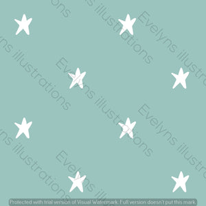 Digital Download - Non Exclusive | Medium Scale | Mint | Stars | 6 by 6 Inches | Oh Baby Blue Collection - Evelyns Illustrations