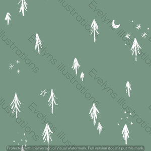 Digital Download - Non Exclusive | Medium Scale | Olive Meadow Green 2 PACK | Little Forest Trees | 6 by 6 Inches - Evelyns Illustrations