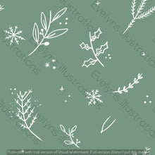 Load image into Gallery viewer, Digital Download - Non Exclusive | Medium Scale | Olive Meadow Green 2 PACK | Festive Foliage | 6 by 6 Inches - Evelyns Illustrations