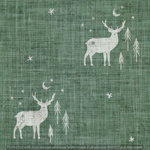 Digital Download - Non Exclusive | Medium Scale | Olive Meadow Green 2 PACK | Stag and Trees | 6 by 6 Inches - Evelyns Illustrations