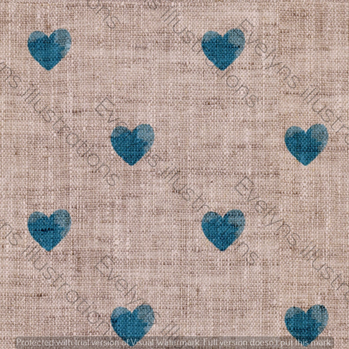 Repeat Illustrated Pattern Digital Download - Non Exclusive | Medium Scale | Blue | Little Linen Hearts | 5.25 by 5.25 Inches - Evelyns Illustrations