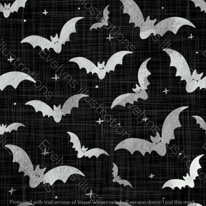 Repeat Illustrated Pattern Digital Download - Non Exclusive | Medium Scale | 2 PACK Black | Bats | 5 by 5 Inches - Evelyns Illustrations