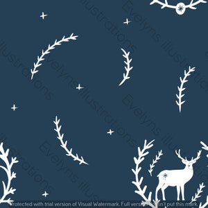 Digital Download - Non Exclusive | Medium Scale | Navy 2 PACK | Stag in Leaves | 6 by 6 Inches - Evelyns Illustrations