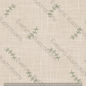 Digital Download - Non Exclusive | Medium Scale | Cream | Olive Simple Leaves | 6 by 6 Inches - Evelyns Illustrations