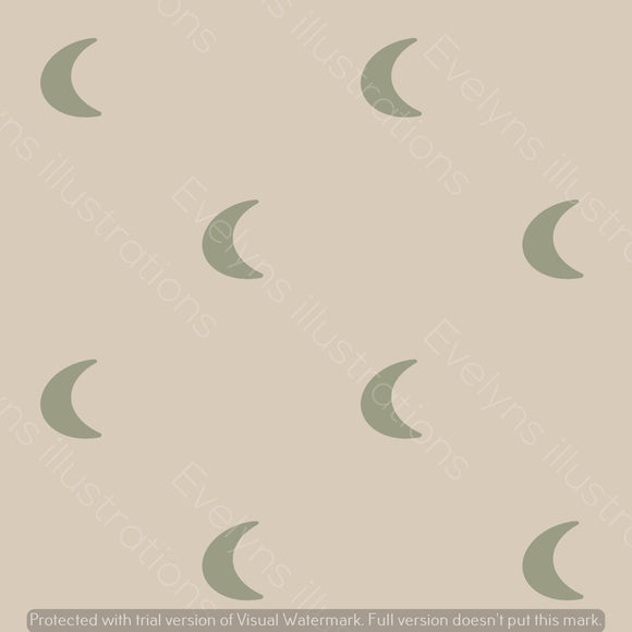 Repeat Illustrated Pattern Digital Download - Non Exclusive | Medium Scale | Cream and Green | Plain Boho Moons | 6 by 6 Inches - Evelyns Illustrations