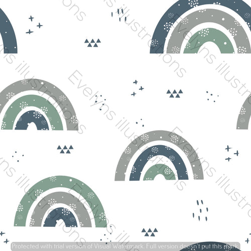 Repeat Illustrated Pattern Digital Download - Non Exclusive | Medium Scale | Earth and Sky | Plain Rainbows | 6 by 6 Inches - Evelyns Illustrations