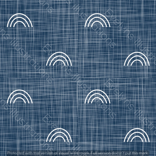 Repeat Illustrated Pattern Digital Download - Non Exclusive | Medium Scale | Blue Denim | Hessian Rainbows | 6 by 6 Inches - Evelyns Illustrations