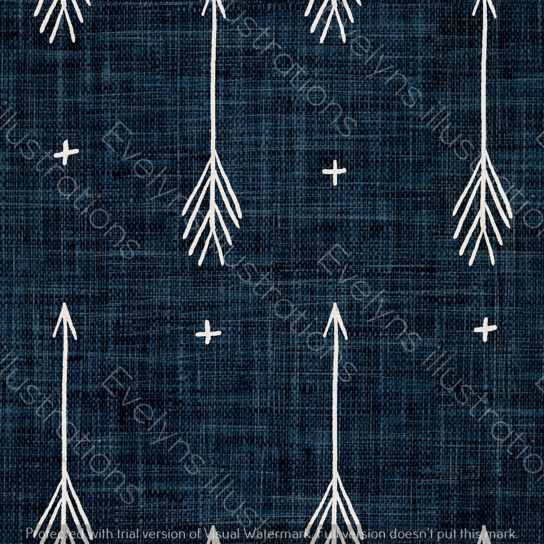 Repeat Illustrated Pattern Digital Download - Non Exclusive | Medium Scale | Denim | Sketch Arrows | 5.5 by 5.5 Inches - Evelyns Illustrations