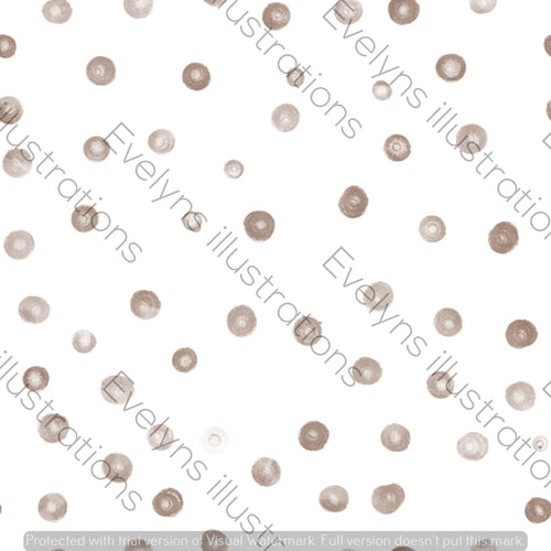 Repeat Illustrated Pattern Digital Download - Non Exclusive | Small Scale | Brown | Blush Dots | 2.5 by 2.5 Inches - Evelyns Illustrations