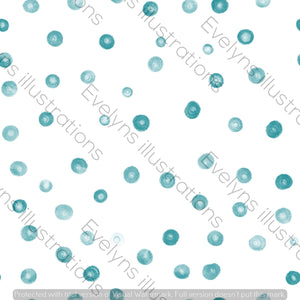 Repeat Illustrated Pattern Digital Download - Non Exclusive | Large Scale | Blue | Blush Dots | 9 by 9 Inches - Evelyns Illustrations