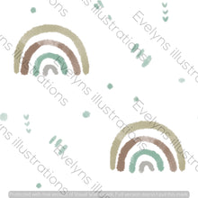 Load image into Gallery viewer, Repeat Illustrated Pattern Digital Download - Non Exclusive | Small Scale | Earth | Watercolour Rainbows | 2.6 by 2.6 Inches - Evelyns Illustrations