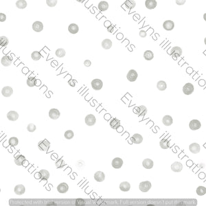 Repeat Illustrated Pattern Digital Download - Non Exclusive | Medium Scale | Grey | Blush Dots | 6 by 6 Inches - Evelyns Illustrations