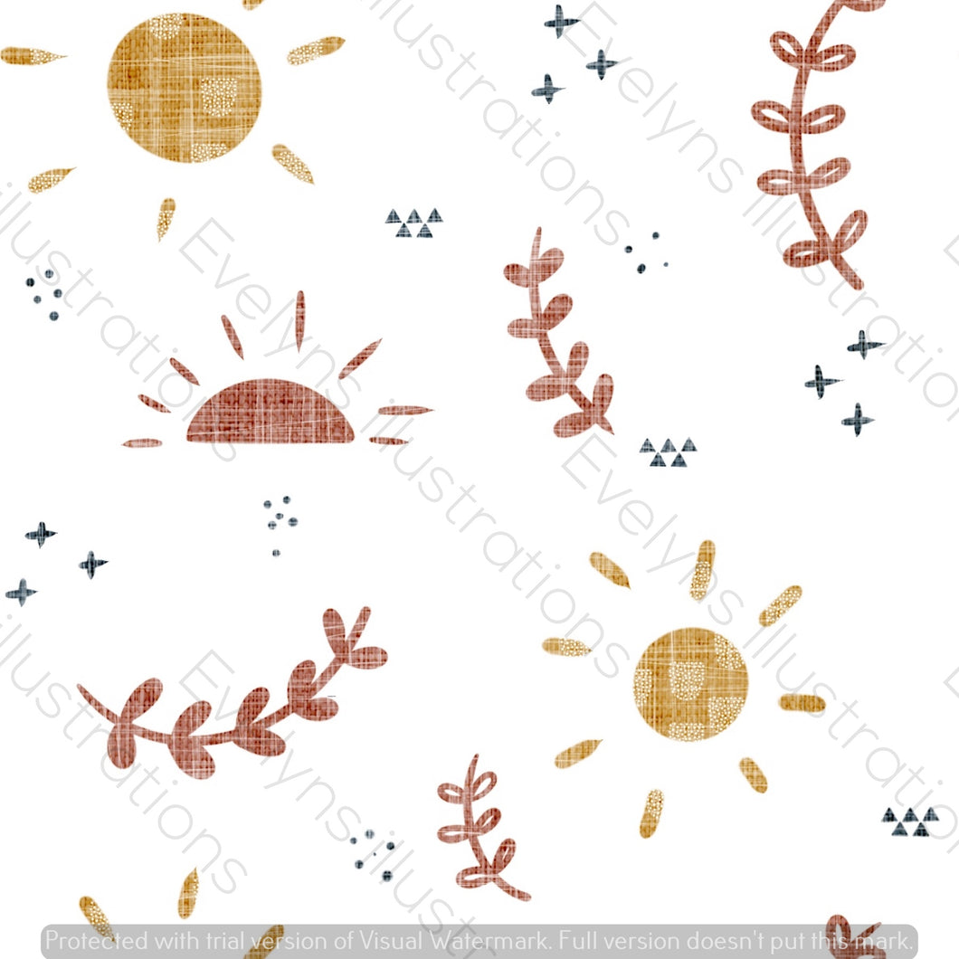 Digital Download - Non Exclusive | Medium Scale | Mustard and Rust | Soft Sun Skies | 6 by 6 inches