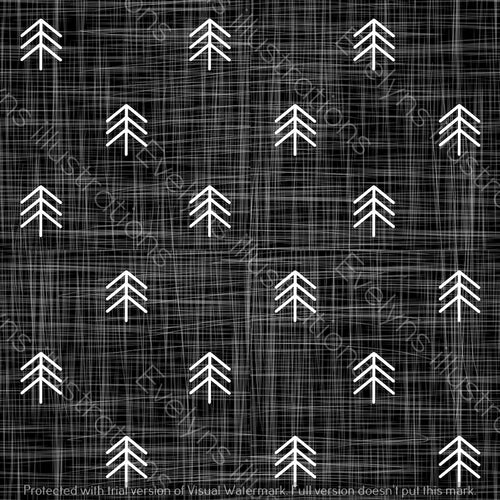 Repeat Illustrated Pattern Digital Download - Non Exclusive | Small Scale | Black | Hessian Trees | 2.6 by 2.6 Inches - Evelyns Illustrations