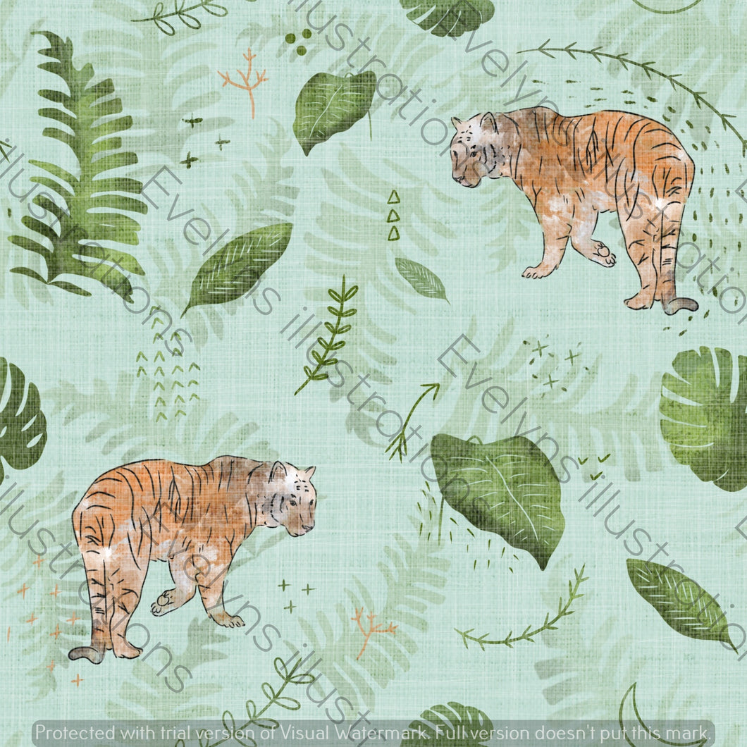 Digital Download - Non Exclusive | Medium Scale | Mint Green | The Jungle Tiger | 7.5 by 7.5 Inches - Evelyns Illustrations