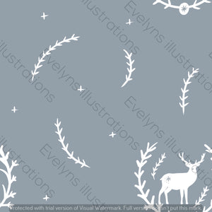 Digital Download - Non Exclusive | Medium Scale | Grey Blue 2 PACK | Stag in Leaves | 6 by 6 Inches - Evelyns Illustrations