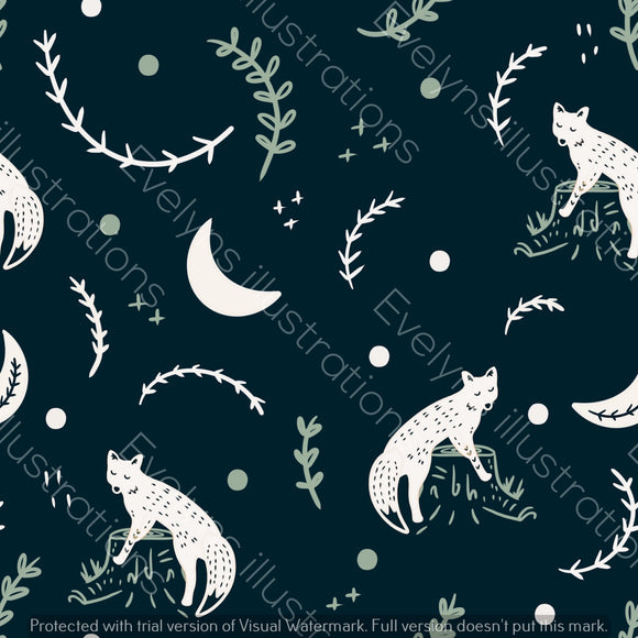 Digital Download - Non Exclusive | Medium Scale | Navy | Scandi Fox Simple | 6 by 6 Inches Scandi Fox Collection