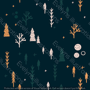 Digital Download - Non Exclusive | Medium Scale | Navy | Scandi Fox Trees | 6 by 6 Inches Scandi Fox Collection