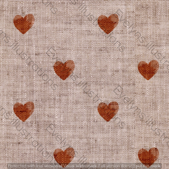 Repeat Illustrated Pattern Digital Download - Non Exclusive | Medium Scale | Red | Little Linen Hearts | 5.25 by 5.25 Inches - Evelyns Illustrations