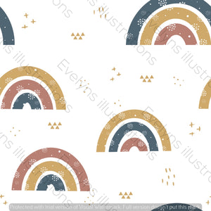 Repeat Illustrated Pattern Digital Download - Non Exclusive | Medium Scale | Retro | Plain Rainbows | 6 by 6 Inches - Evelyns Illustrations