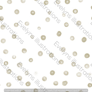 Repeat Illustrated Pattern Digital Download - Non Exclusive | Large Scale | Khaki Green | Blush Dots | 9 by 9 Inches - Evelyns Illustrations