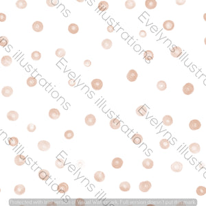 Repeat Illustrated Pattern Digital Download - Non Exclusive | Large Scale | Pink | Blush Dots | 9 by 9 Inches - Evelyns Illustrations