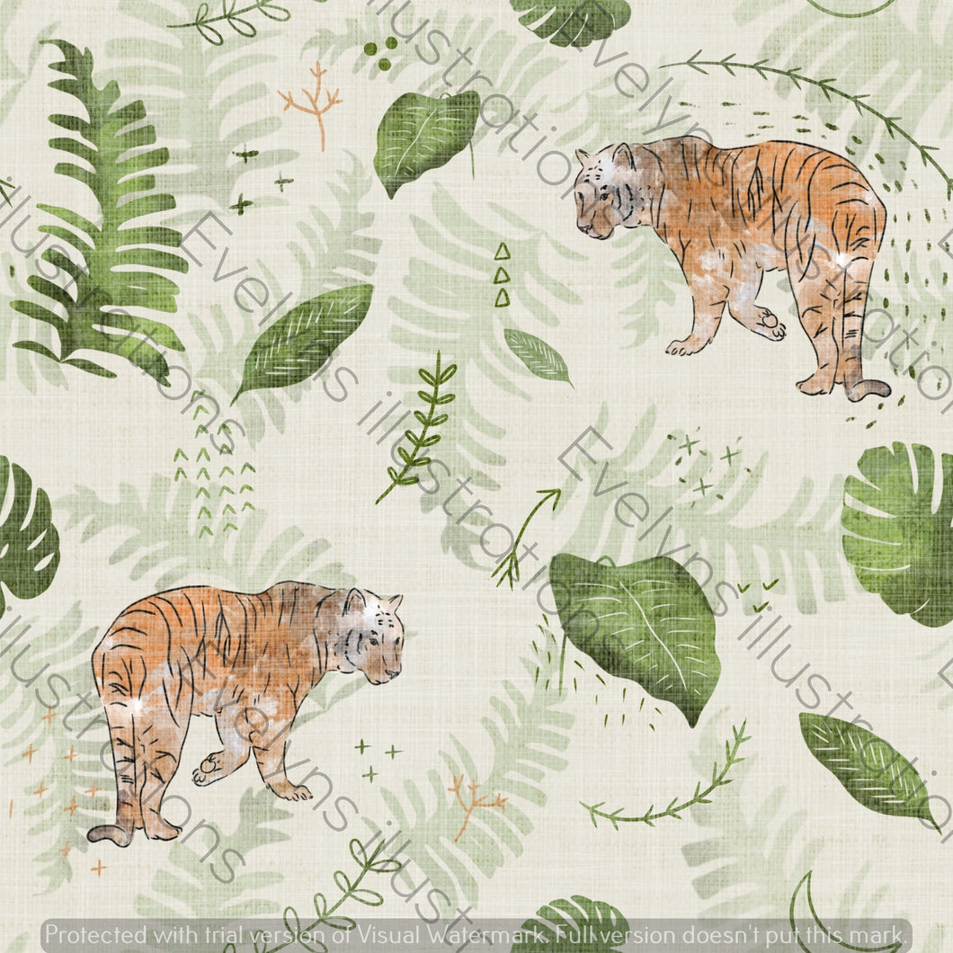 Digital Download - Non Exclusive | Medium Scale | Off Cream | The Jungle Tiger | 7.5 by 7.5 Inches - Evelyns Illustrations