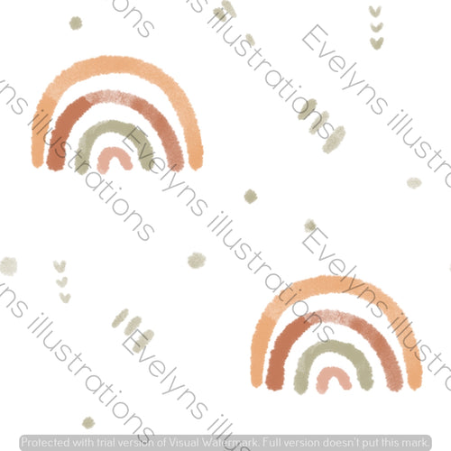 Digital Download - Non Exclusive | Small Scale | Warm Earth | Watercolour Rainbows | 2.6 by 2.6 Inches - Evelyns Illustrations