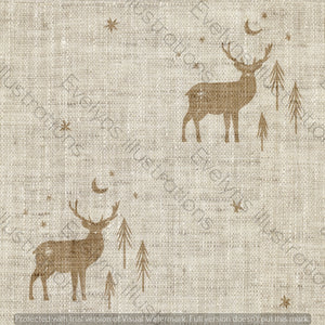 Digital Download - Non Exclusive | Medium Scale | Cream 2 PACK | Stag and Trees | 6 by 6 Inches - Evelyns Illustrations